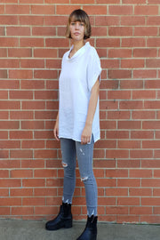 Montaigne European linen short sleeve top with semi cowl neck