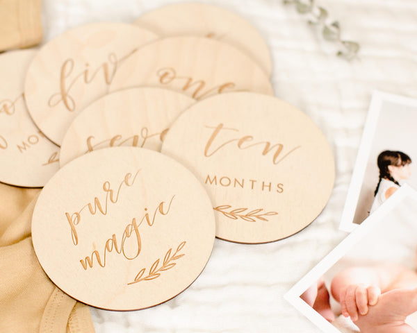 Etched Wooden Baby Milestone Collection - Set of 14