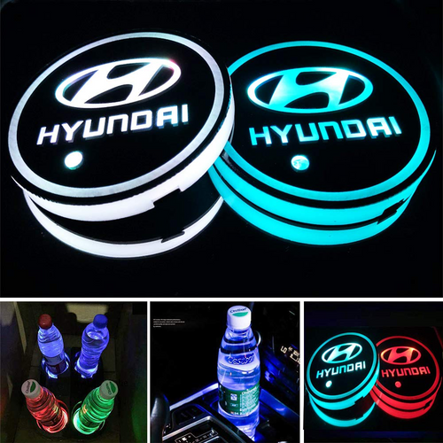 2PCS Car LED Cup Holder Lights for Hyundai  with 7 Colors Changing USB Charging Mat