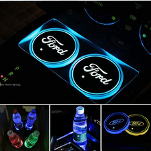 Load image into Gallery viewer, 2PCS Car LED Cup Holder Lights for Ford Car Logo Cup Coaster with 7 Colors Changing USB Charging Mat