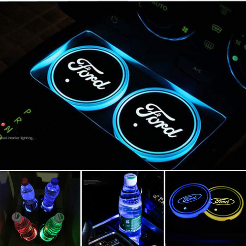 2PCS Car LED Cup Holder Lights for Ford Car Logo Cup Coaster with 7 Colors Changing USB Charging Mat