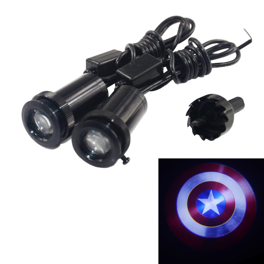 2Pcs Captain America Puddle Lights Car Door Projector Lights Free Shipping
