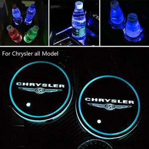 2PCS Car LED Cup Holder Lights for Chrysler with 7 Colors Changing