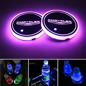 2PCS Car LED Cup Holder Lights for Chrysler Car Logo Cup Coaster with 7 Colors Changing USB Charging Mat