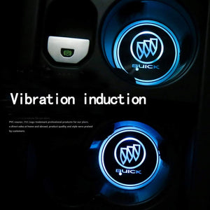 2PCS Car LED Cup Holder Lights for Buick Car Logo Cup Coaster with 7 Colors Changing USB Charging Mat