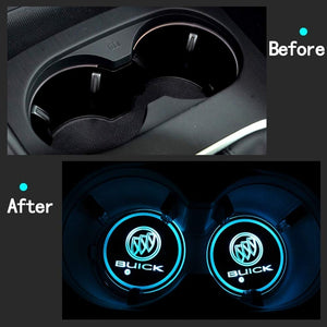 2PCS Car LED Cup Holder Lights for Buick with 7 Colors Changing USB Charging Mat