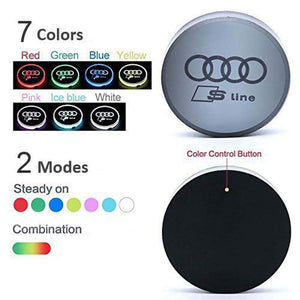 2PCS Car LED Cup Holder Lights for Hyundai Car Logo Cup Coaster with 7 Colors Changing USB Charging Mat