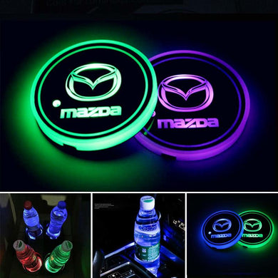 2PCS Car LED Cup Holder Lights for Mazda Car Logo Cup Coaster with 7 Colors Changing USB Charging Mat
