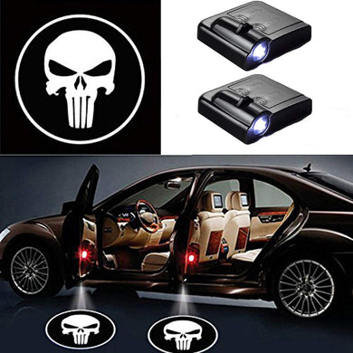 2 Pcs LED Car Door Logo Ghost Shadow Light for Skull Free Shipping