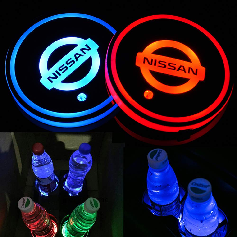2PCS Car LED  Cup Holder Lights for Nissan Car Logo Cup Coaster with 7 Colors Changing USB Charging Mat