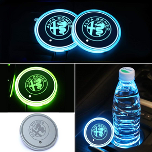 2PCS Car LED Cup Holder Lights for Alfa-Romeo Car Logo Cup Coaster with 7 Colors Changing USB Charging Mat
