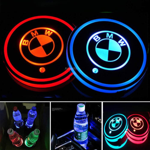 2X LED Car Cup Holder Lights for BMW  Logo with 7 Colors Changing USB Charging Mat