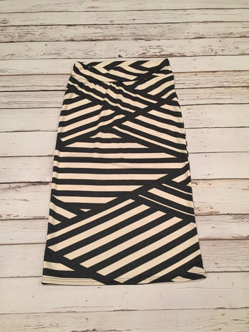 Charcoal and Ivory Stripe Midi Skirt