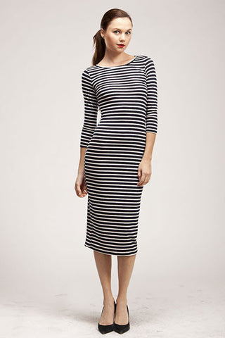 Black and Ivory Stripe Midi Dress