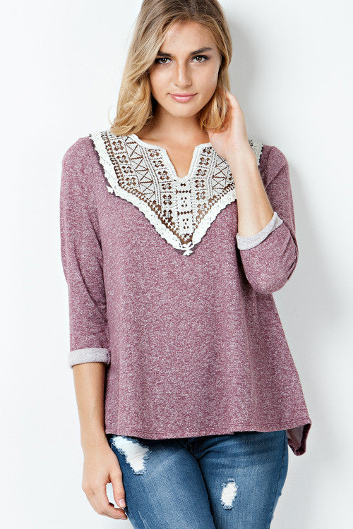 Maroon Lace Terry Top