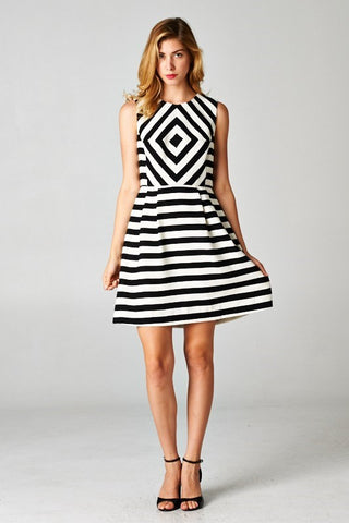 Black and White Stripe Tank Dress