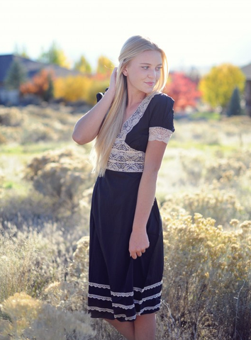 Black and Ivory Lace Trim Dress