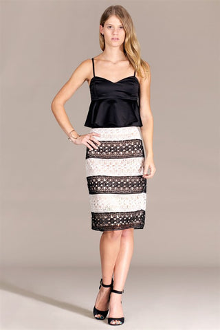 Black and Ivory Lace Stripe Skirt