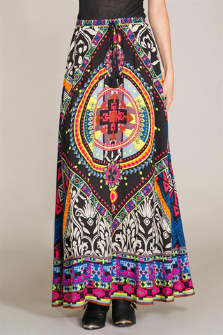 Black Multicolor Kate Maxi Skirt