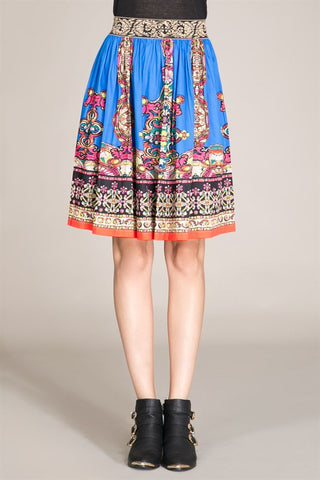 Blue Piece Print Skirt