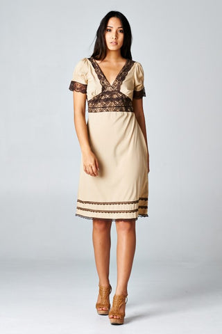Tan and Brown Lace Trim Dress