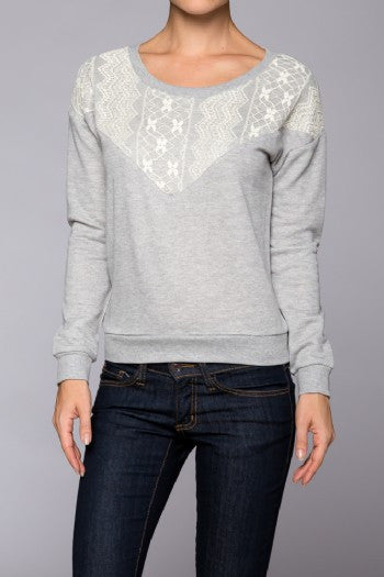 Grey Lace French Terry Top