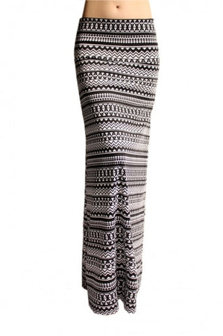 Black and White Aztec Maxi Skirt