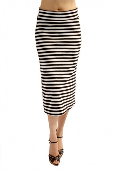 Black and Ivory Stripe Midi Skirt