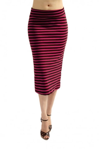 Black and Magenta Stripe Midi Skirt