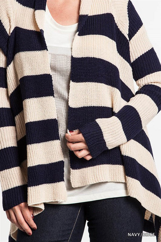 Plus Navy and Beige Stripe Sweater