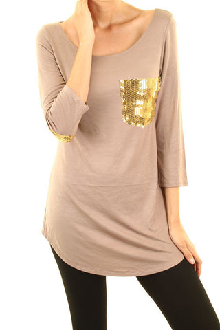 Curvy Size Sequin Pocket Tee- 2 Colors