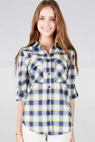 Navy Plaid Button Up Shirt