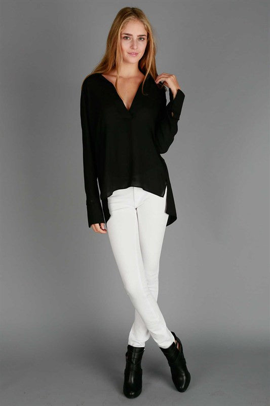 Black Long Sleeve Tunic Blouse