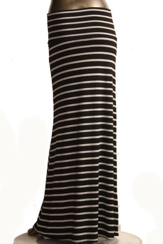 Black and Ivory Stripe Maxi Skirt