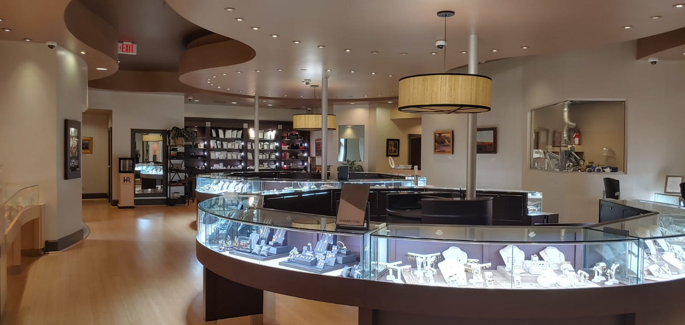 After waiting to pull the trigger on his lighting, he wished he did the diamond lighting in the showcases and overhead much sooner. Display case lighting and Diamond Ceiling Lights by Lighting 4 Diamonds.