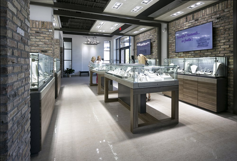 Bere Jewelers upgraded all halogen bulbs to the more efficient LED Diamond lights for the entire showroom.