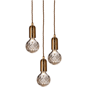 Lee Broom Crystal Bulb 3L Chandelier Taklampa Borstad mässing Klar