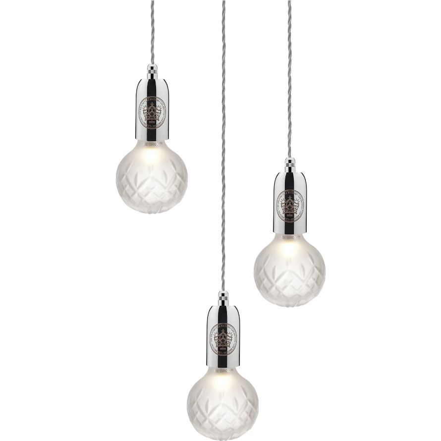 Lee Broom Crystal Bulb 3L Chandelier Taklampa blank Krom Frostad