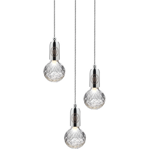 Lee Broom Crystal Bulb 3L Chandelier Taklampa blank krom Klar