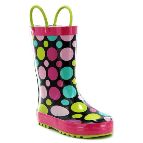 Kids Dot Party Rain Boots - Black - Willapa Outdoor