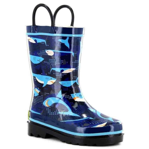 Kids Pixel Shark Camo Rain Boot - Navy - Willapa Outdoor