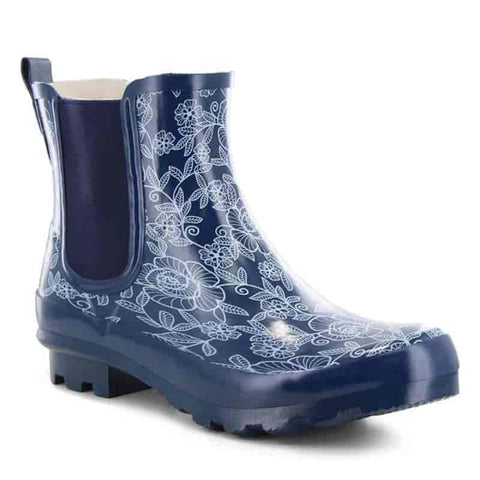 Women's Classic Chelsea Filligree Floral Rain Boot - Navy - Willapa Outdoor