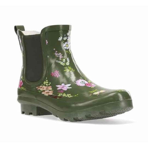 Western Chief Women's Tranquil Floral Chelsea Rain Boot - Olive - Willapa Outdoor