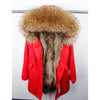 Natural fur lining parka Waterproof  winter jacket  raccoon fur collar warm thick parkas