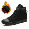 New 2019 Winter Shoes Men Winter Boots High top Sneakers Warm Fur Shoes Canvas Casual Men Ankle Boots Black White Footwear A1628