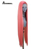 Anogol Strawberry Pastel- Pink High Temperature Fiber Long Natural Straight Synthetic Lace Front Wigs for White women