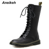 Aneikeh NEW Fashion Rome Retro Lace Up Knee High Motorcycle Boots Women Shoes Chunky Square Med Heels Riding Knight Long  Boots