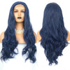 Charisma Dark Blue Wig Long Wavy Hair Synthetic Lace Front Wig with Natural Hairline Middle Part Heat Resistant Lace Wigs