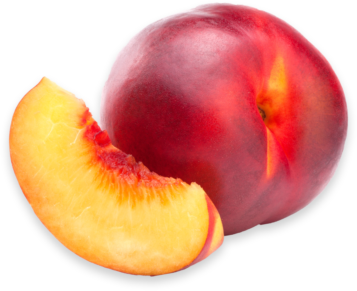 A nectarine slice next to a whole nectarine.