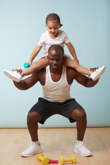 sumo squats with kids work out